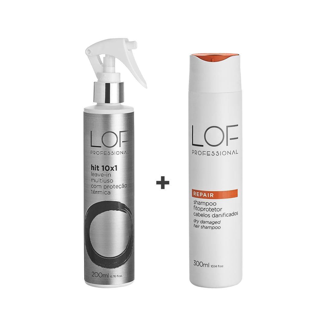 Kit Shampoo Reconstrutor Para Cabelos Danificados Repair 300mL + Leave-in Multi Uso Proteção Térmica  Hit 10x1 200mL