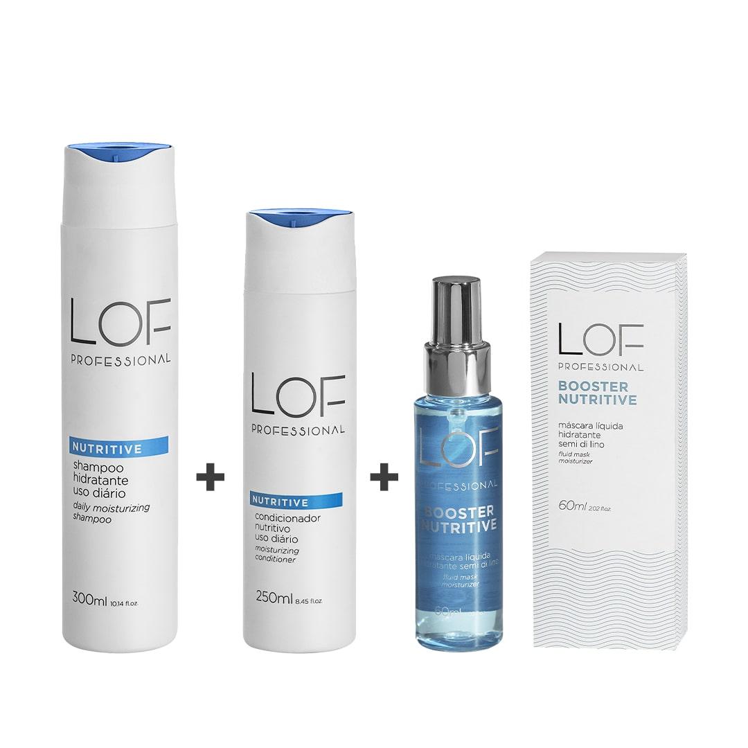 Kit Shampoo Hidratante Nutritive 300ml + Máscara Líquida Hidratante Booster Nutritive 60ml + Condicionador  Hidratante Nutritive 250ml
