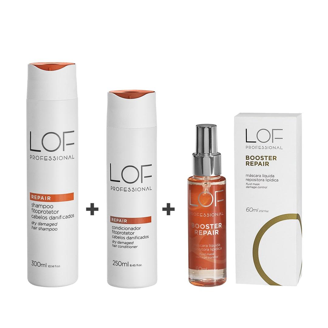 LOF Professional Repair Kit – Shampoo 300ml + Máscara 60ml + Condicionador 250ml