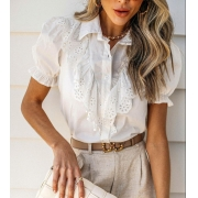 Blusa Tecido Branca C Renda