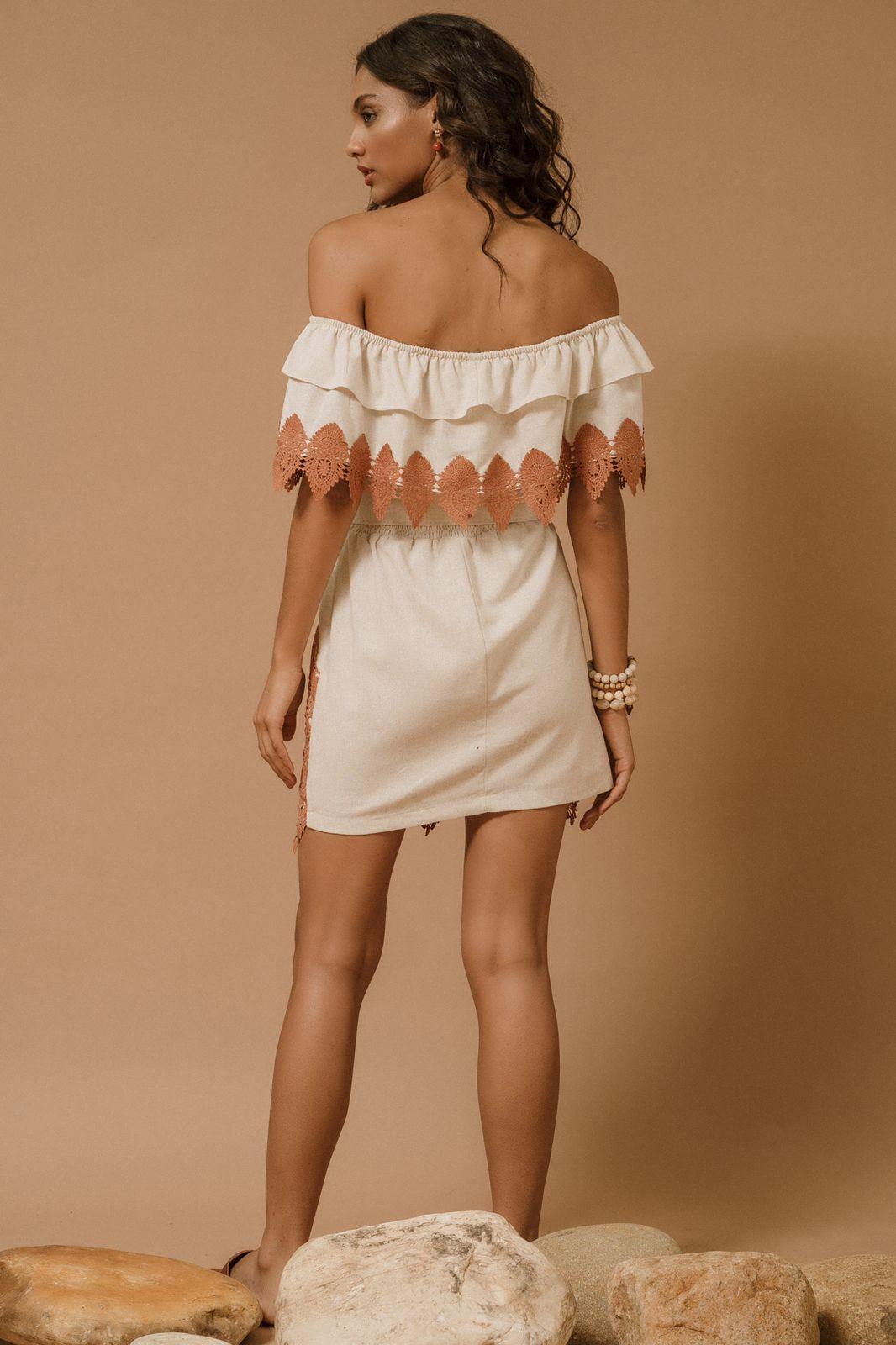Vestido Linho Ombro