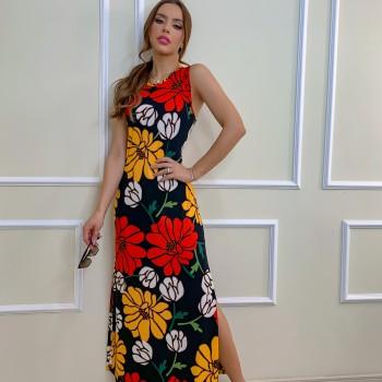 VESTIDO CANELADO FLORAL