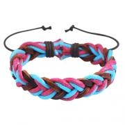 Pulseira Ajustável de Couro e Cordas Trançadas Azul e Rosa