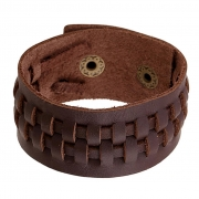 Pulseira Bracelete de Couro Trançado Marrom