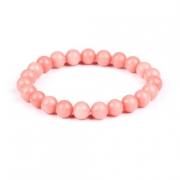 Pulseira Contas de Bolinhas 8 mm de Pedras Naturais Rosa