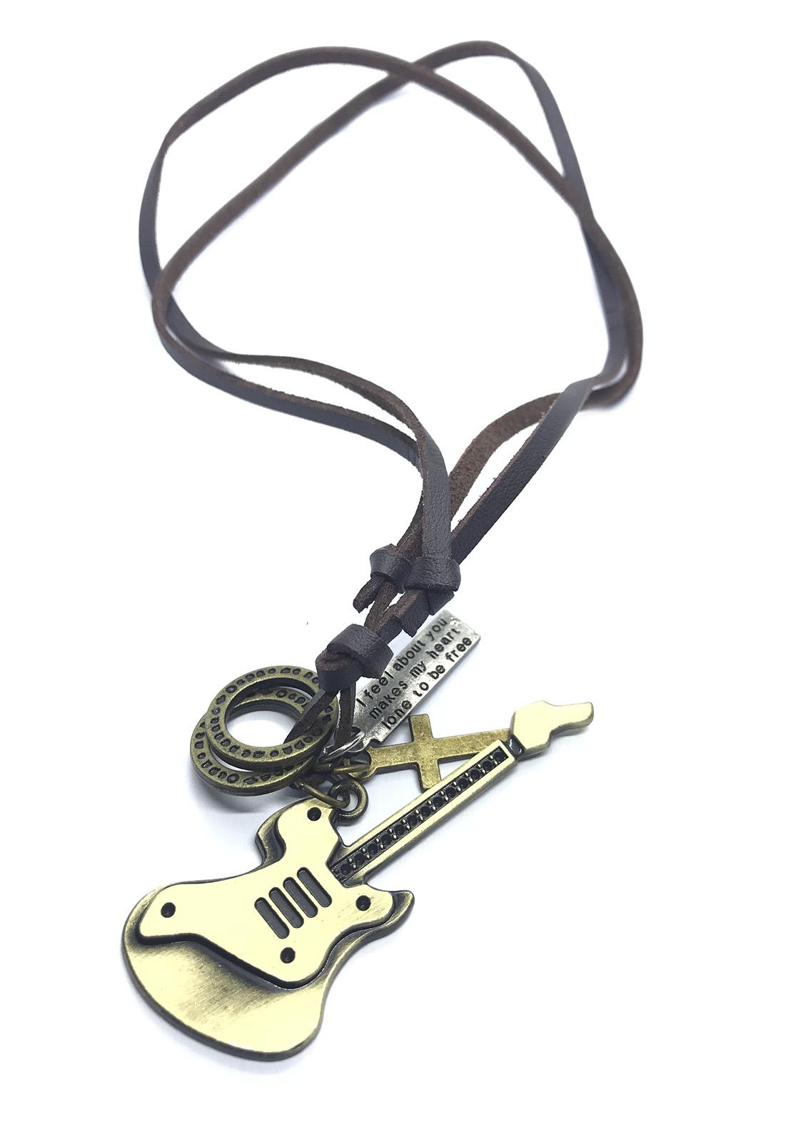 Colar Ajustável Cordão Couro Pingente Cruz Guitarra Dourada