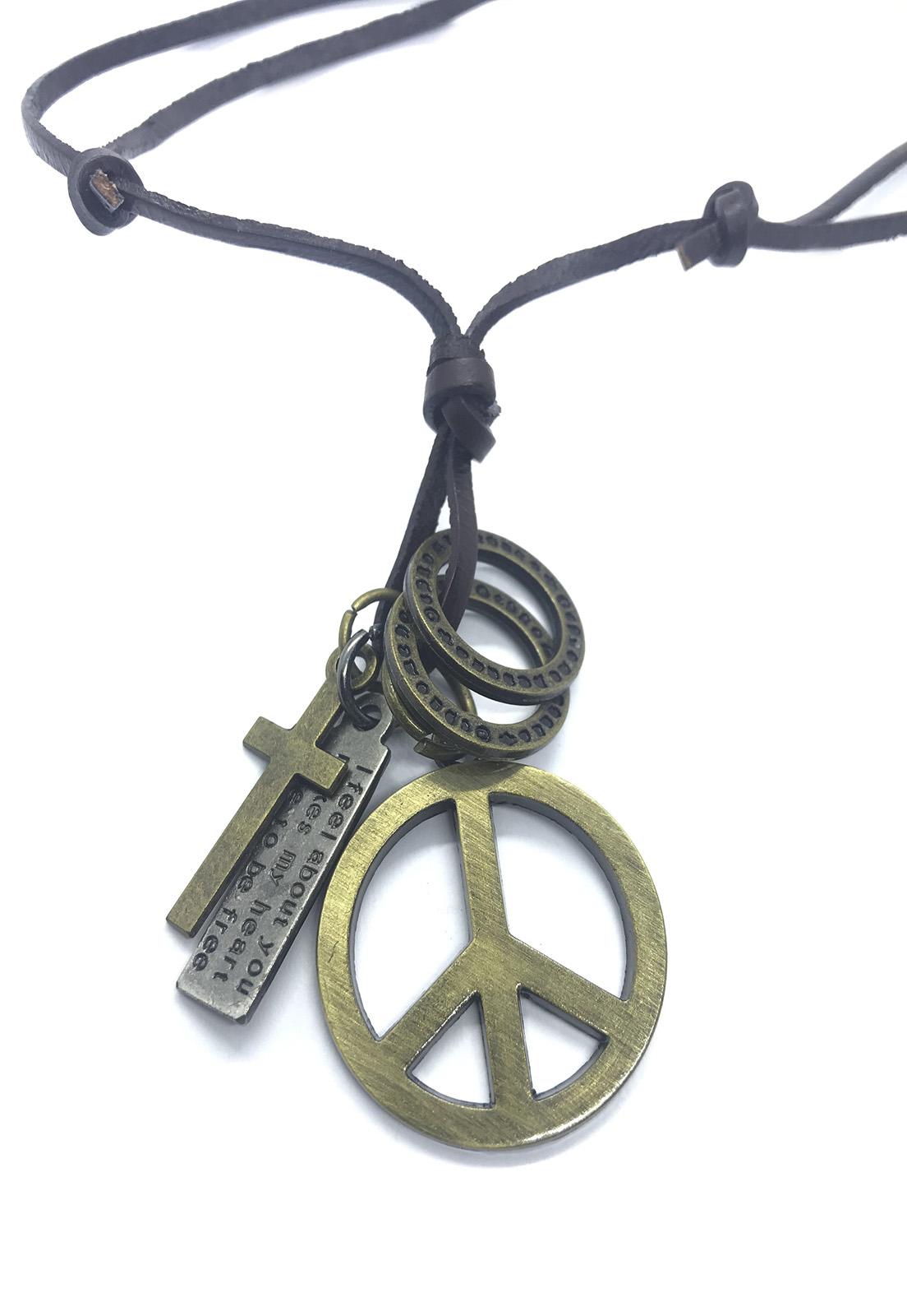 Colar Cordão de Couro Marrom Pingente Cruz e Símbolo da Paz