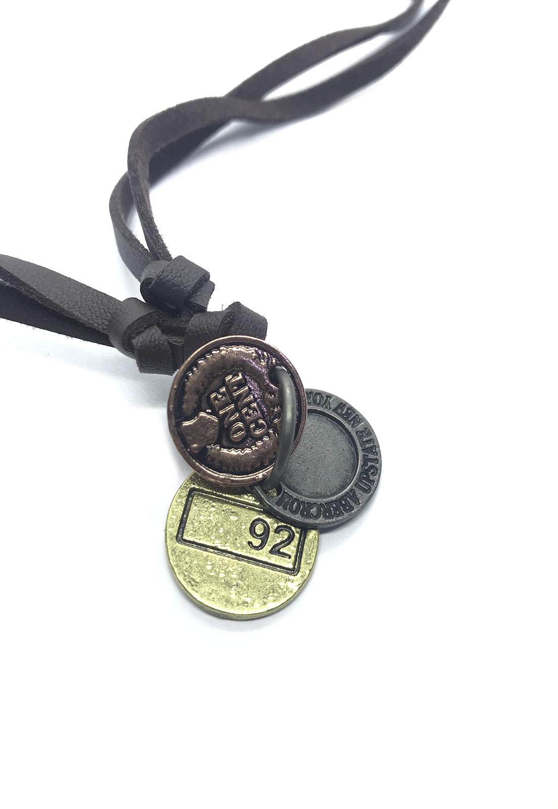 Colar Cordão Marrom Pingente 3 Moedas Bronze Prata e Dourado