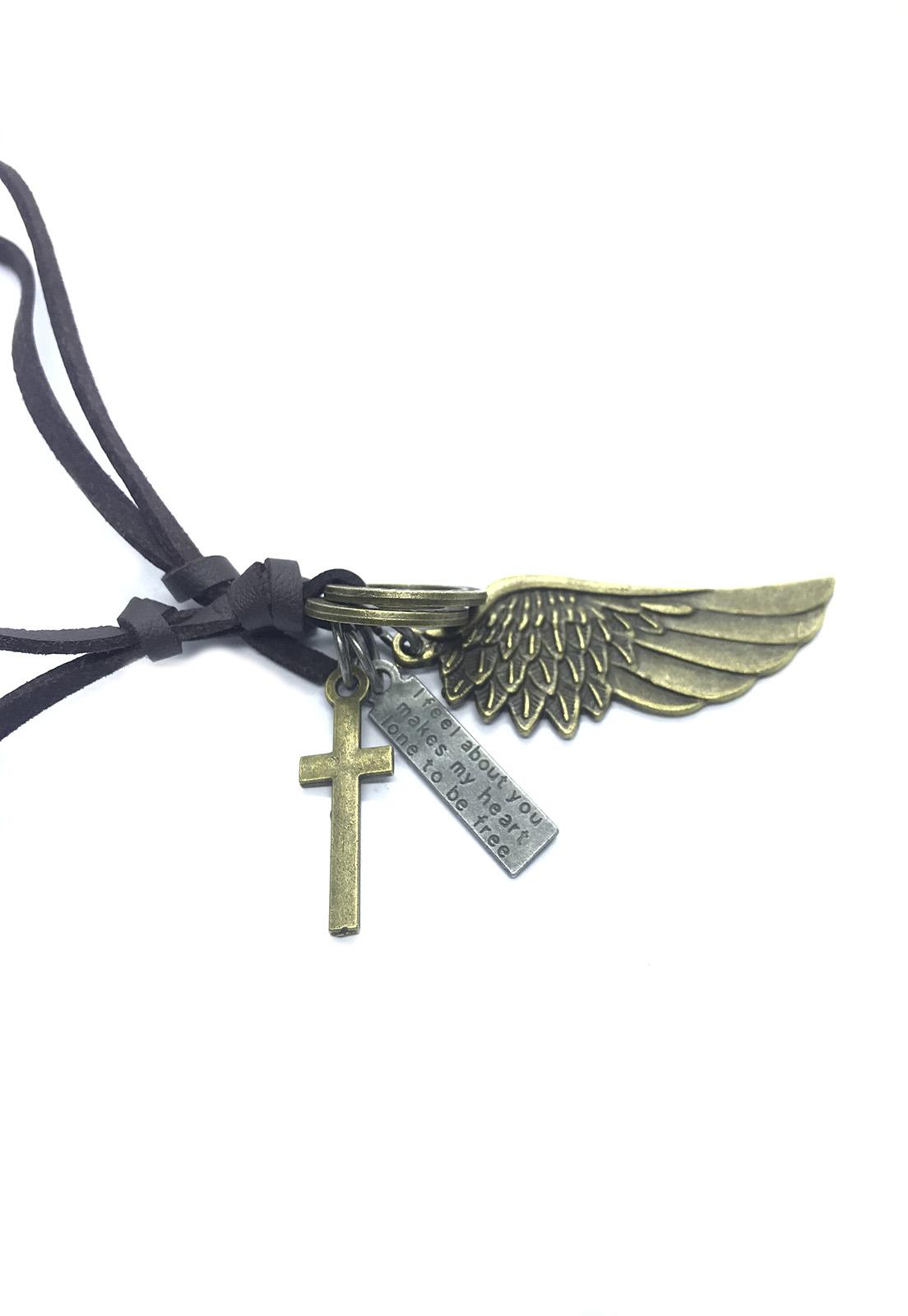 Colar Cordão Marrom Pingente Asa e Crucifixo Dourado