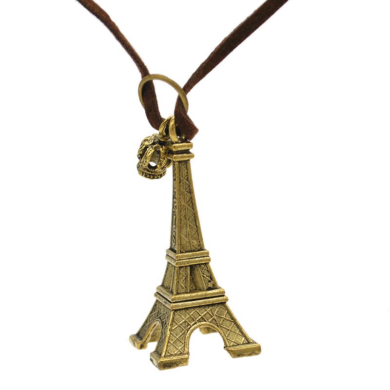Colar Cordão Marrom Pingente de Torre Eiffel e Coroa Bronze