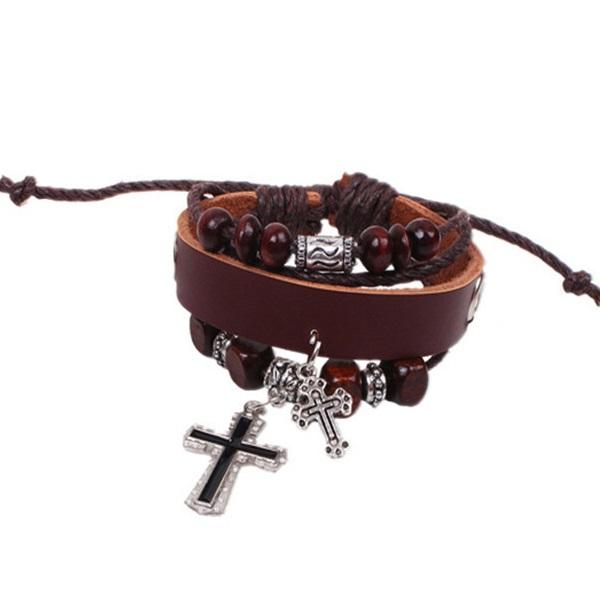 Pulseira Ajustável Couro e Cordas com 2 Crucifixo Cor Marrom