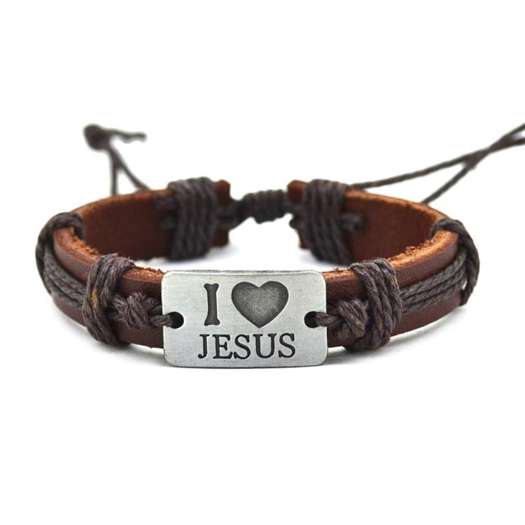 Pulseira Ajustável Couro e Cordas Marrom Placa Eu Amo Jesus