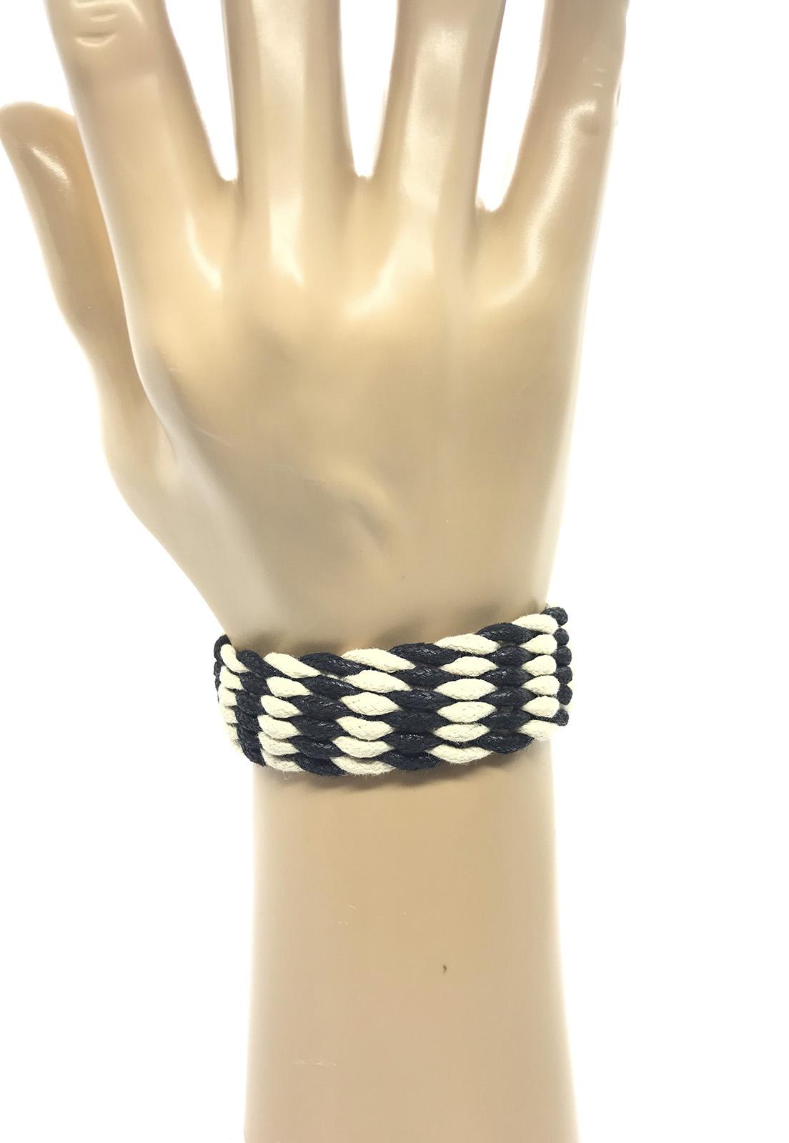 Pulseira Ajustável de Cordas Trançadas Preto e Branco