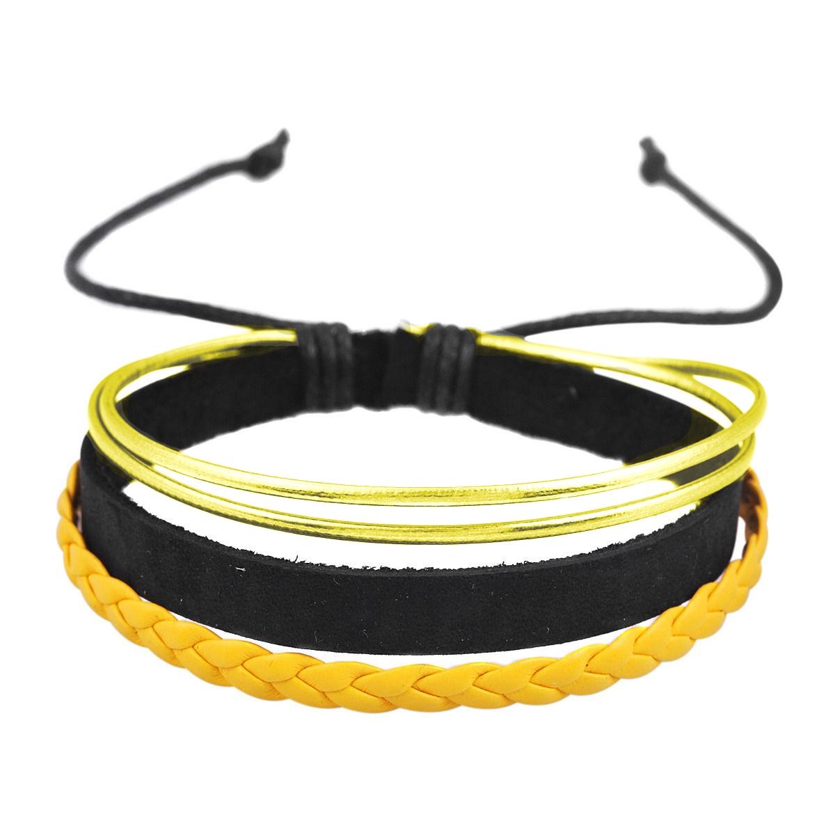 Pulseira Ajustável de Couro Cordas e Camurça Dourado e Preto