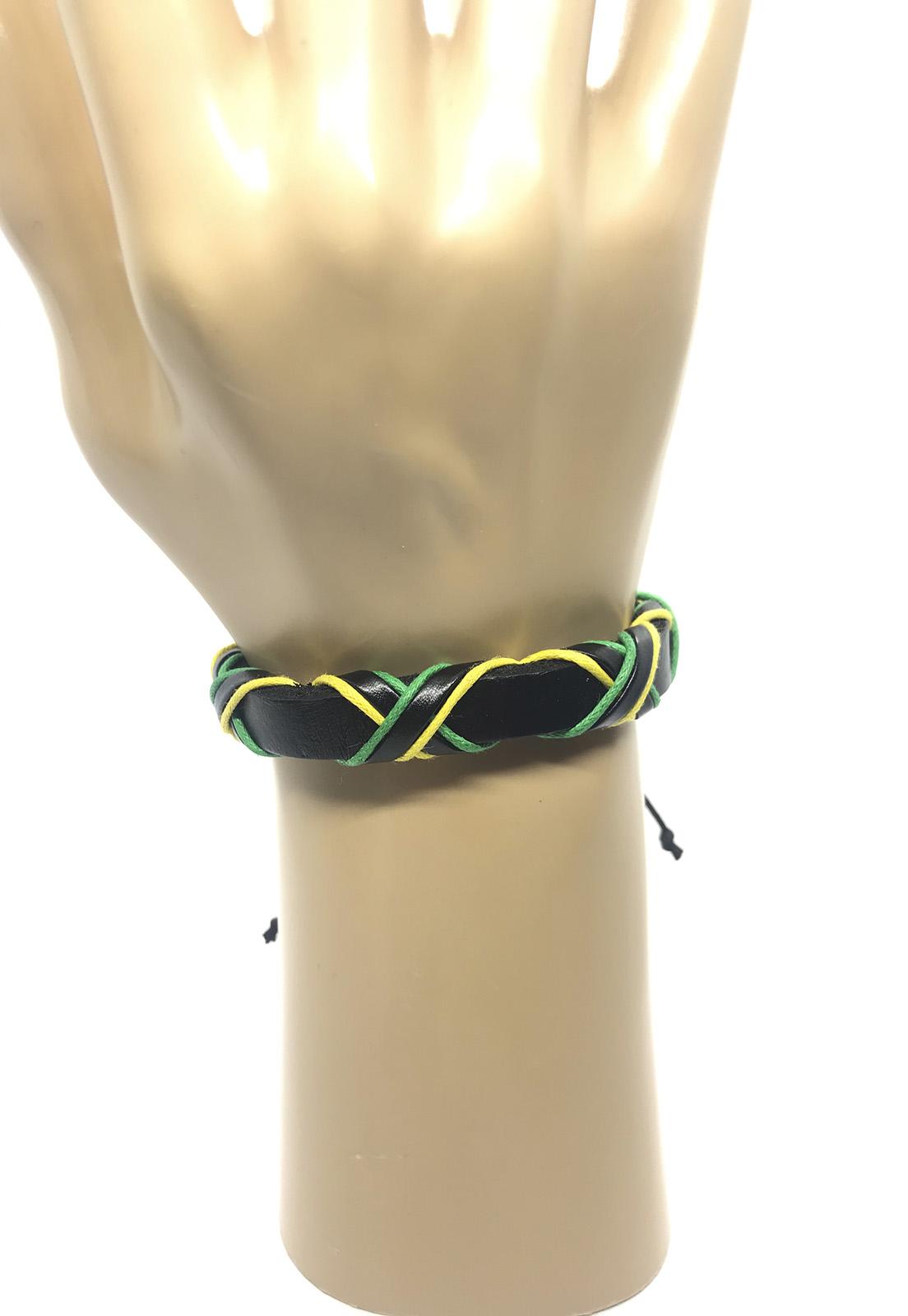 Pulseira Ajustável de Couro e Cordas Brasil Verde e Amarelo