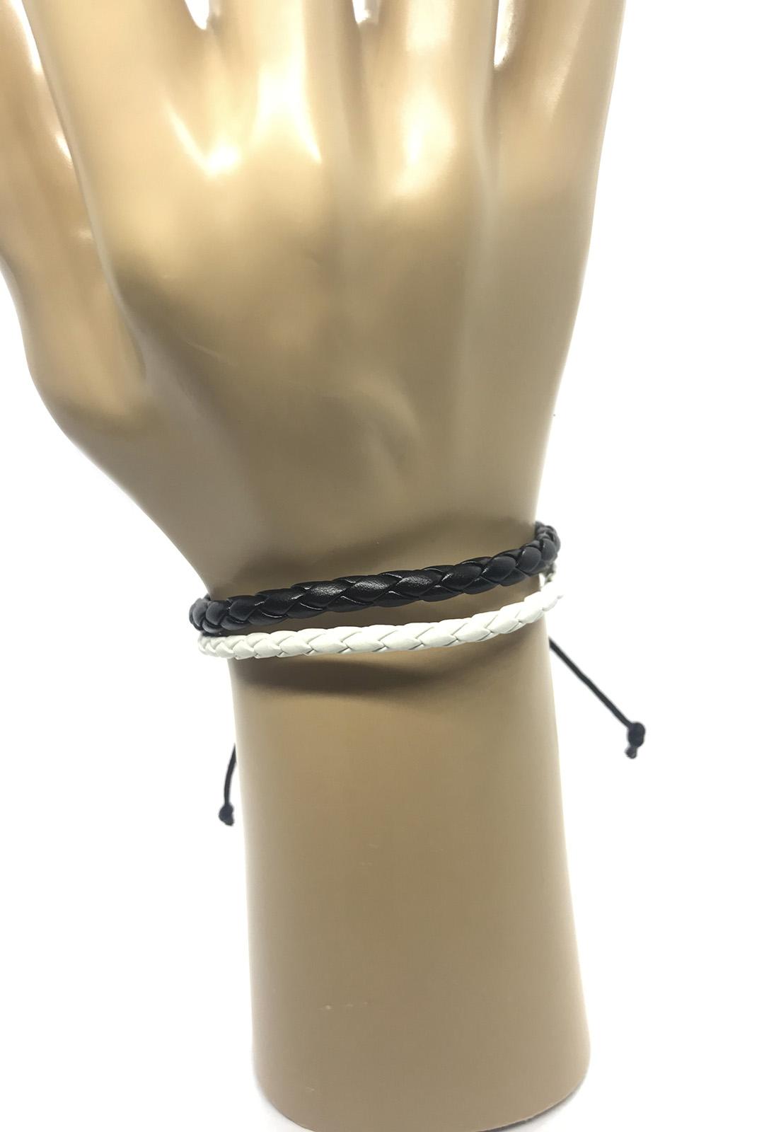 Pulseira Ajustável de Couro e Cordas Trançado Preto e Branco