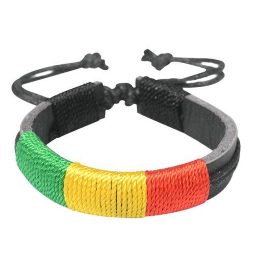 Pulseira Reggae de Couro Ajustável Vermelho, Verde e Amarelo