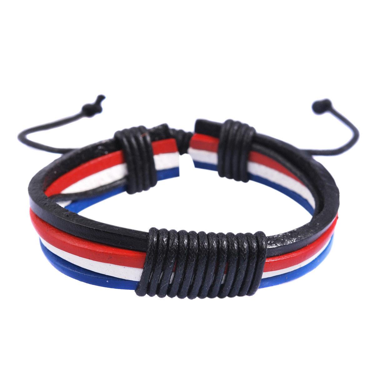 Pulseira Tricolor Ajustável de Couro Azul, Vermelho e Branco
