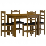 Conjunto Mesa 1,50 X 80 Com 6 Cadeira Imbuia Estofado Preto