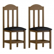 kit 2 Cadeiras Safira Imbuia Estofado Bege