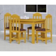 Mesa 1,20x88 C/ 4 Cadeiras Safira Cor Cerejeira Estof Marrom