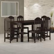 Mesa 1,60 x 88 Com 6 Cadeiras Safira Cor Preto