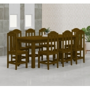 Mesa 2,00 x 88 com 8 Cadeiras Safira Cor Imbuia