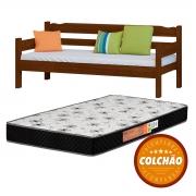 Sofa Cama Cor Castanho + Colchao