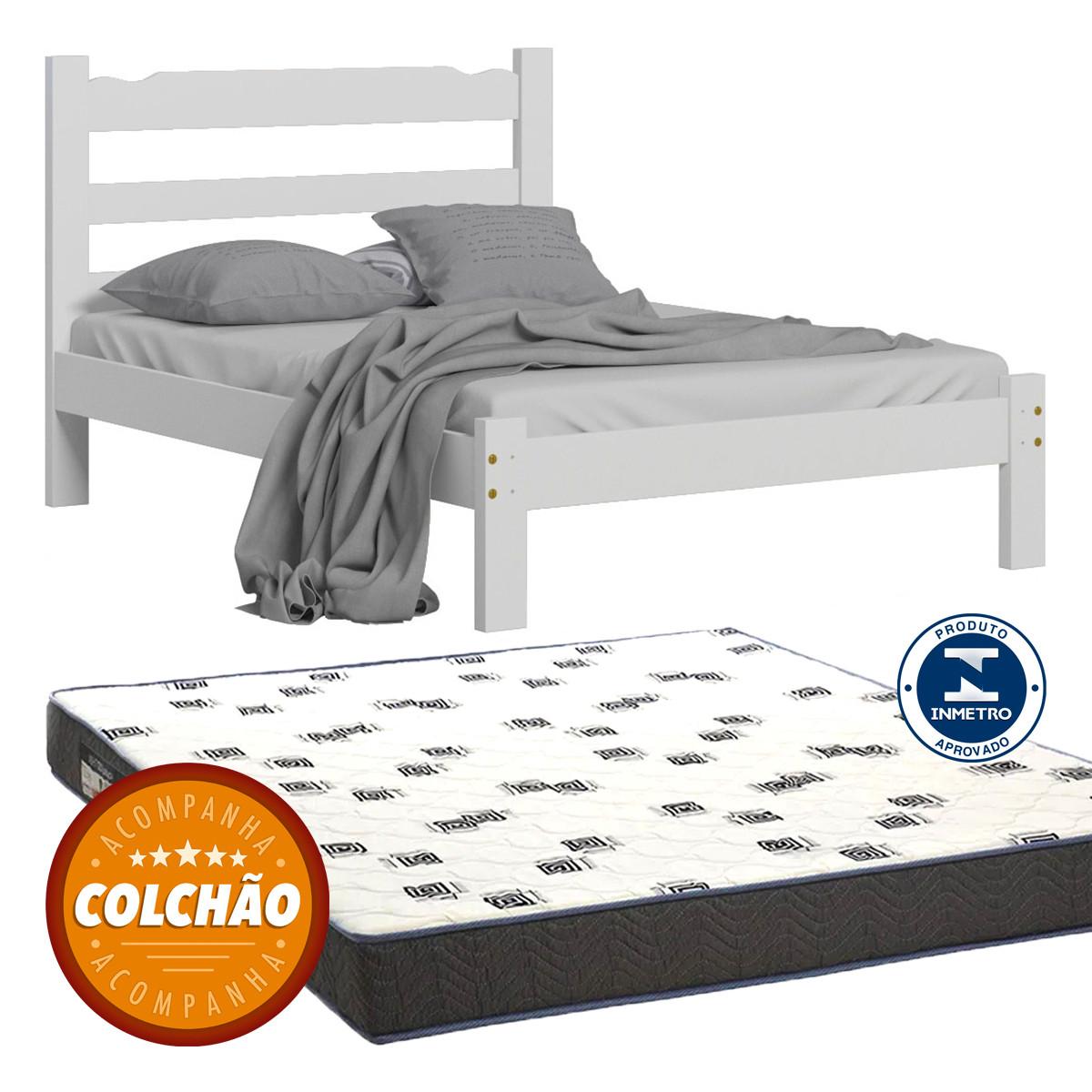 Cama Casal Cor Branco + Colchao