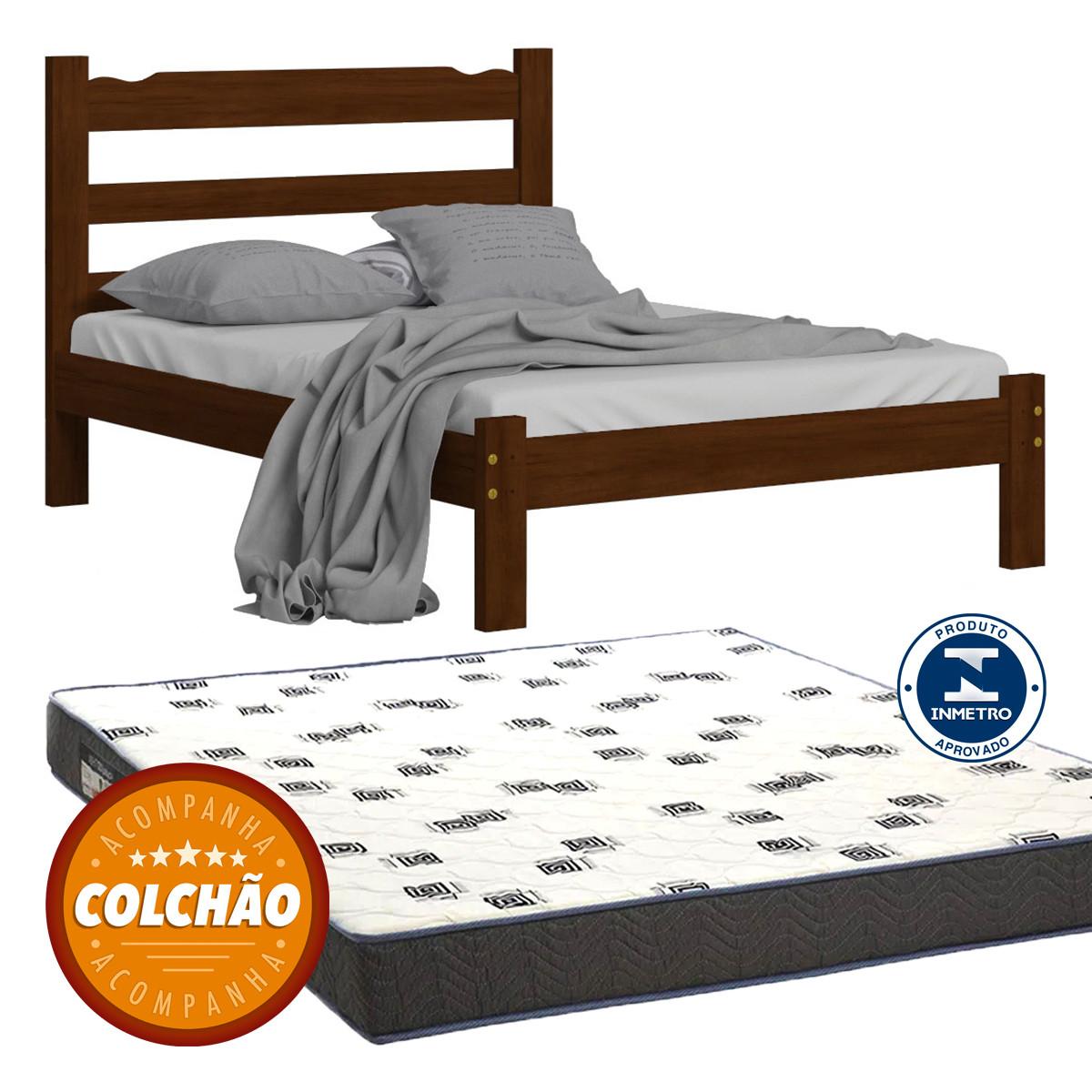 Cama Casal Cor Castanho + Colchao