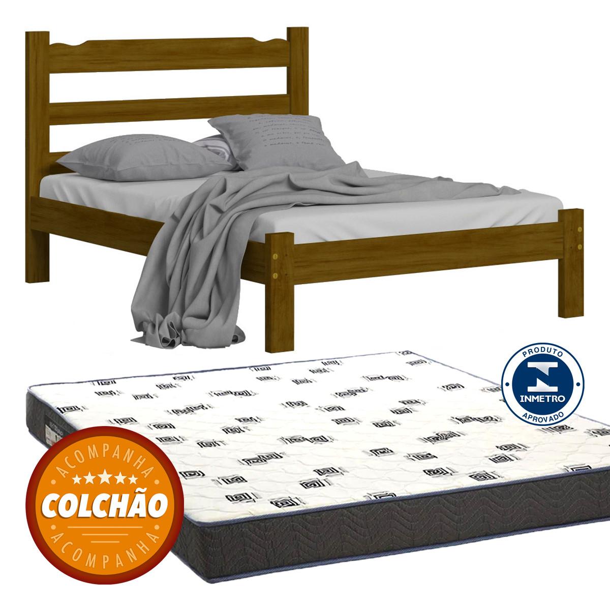 Cama Casal Cor Imbuia + Colchao
