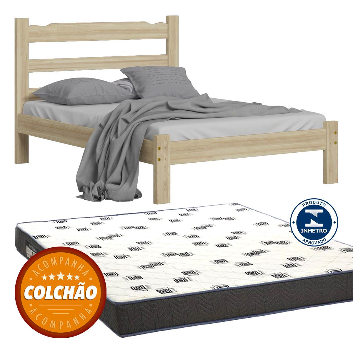 Cama Casal Cor Natural + Colchao