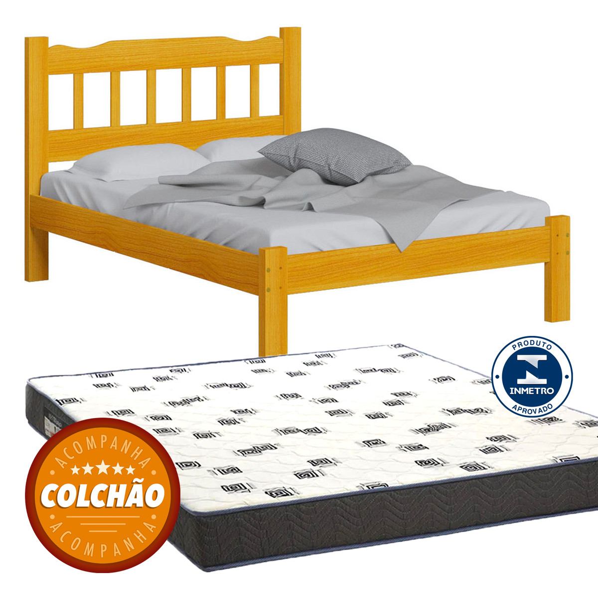 Cama Casal Perola Cor Cerejeira + Colchao