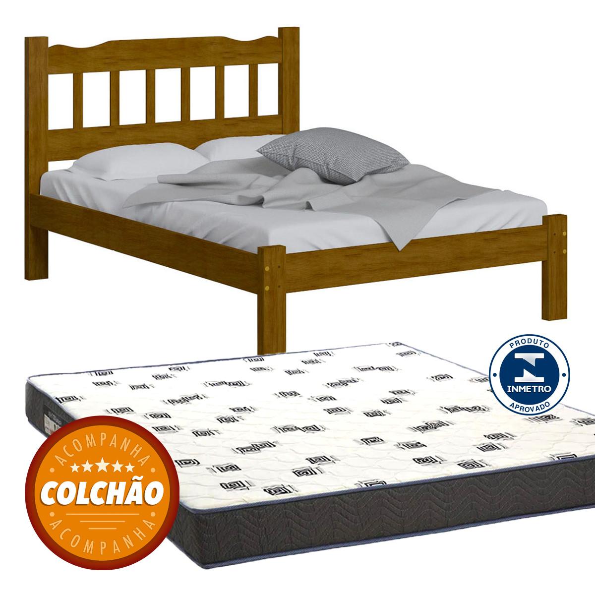 Cama Casal Perola Cor Imbuia + Colchao