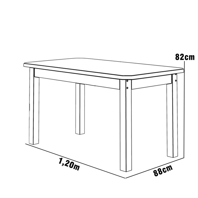 Mesa 1,20 x 88 Com 4 Cadeiras Safira Cor Imbuia