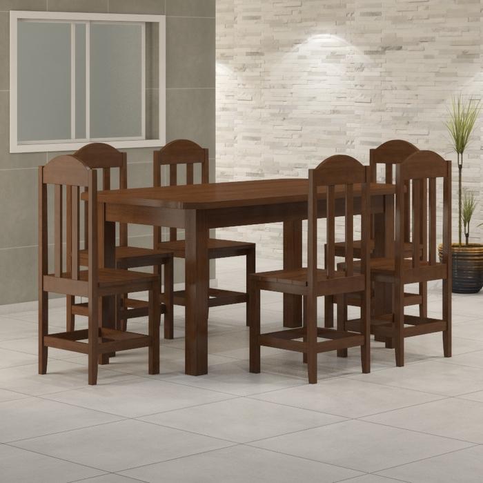 Mesa 1,60 x 88 Com 6 Cadeiras Safira Cor Castanho