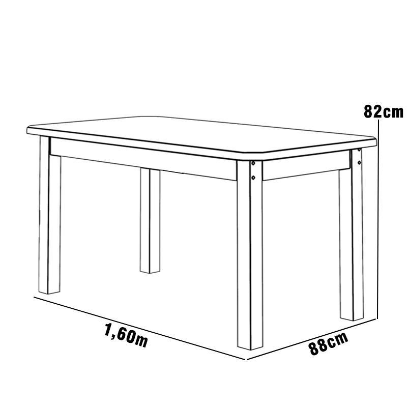 Mesa 1,60 x 88 Com 6 Cadeiras Safira Cor Cerejeira
