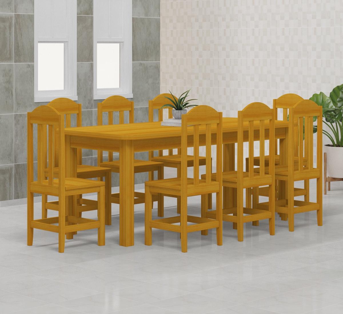Mesa 2,00 x 88 com 8 Cadeiras Safira Cor Cerejeira