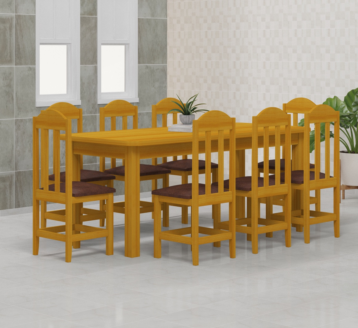 Mesa 2,00x88 c/ 8 Cadeiras Safira Cor Cerejeira Estof Marron
