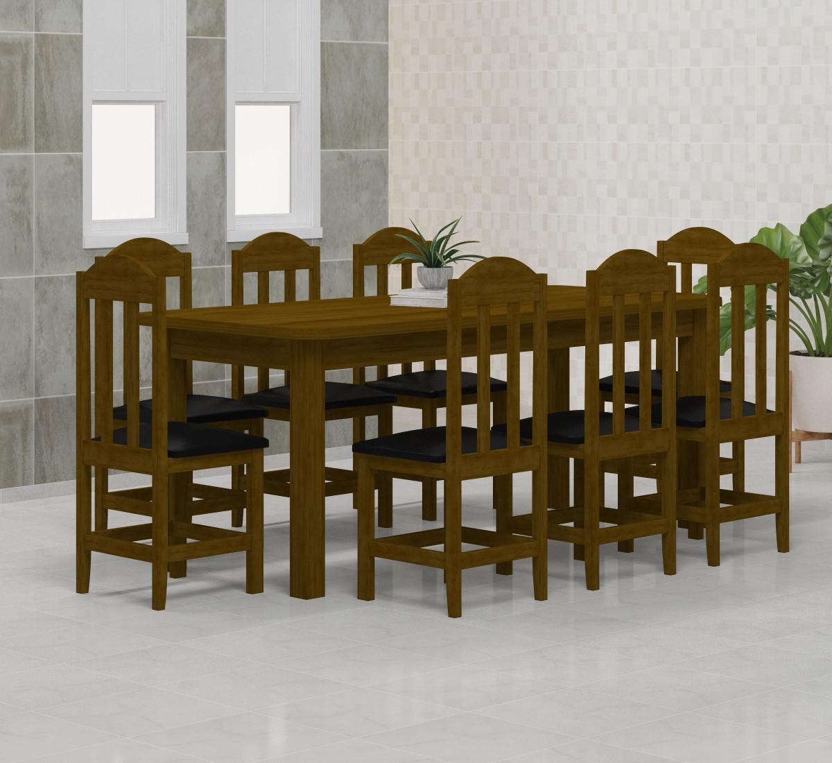 Mesa 2,00x88 c/ 8 Cadeiras Safira Cor Imbuia Estofado Preto