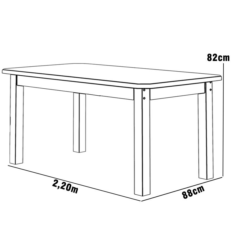 Mesa 2,20 x 88 com Cadeiras Safira Cor Preto