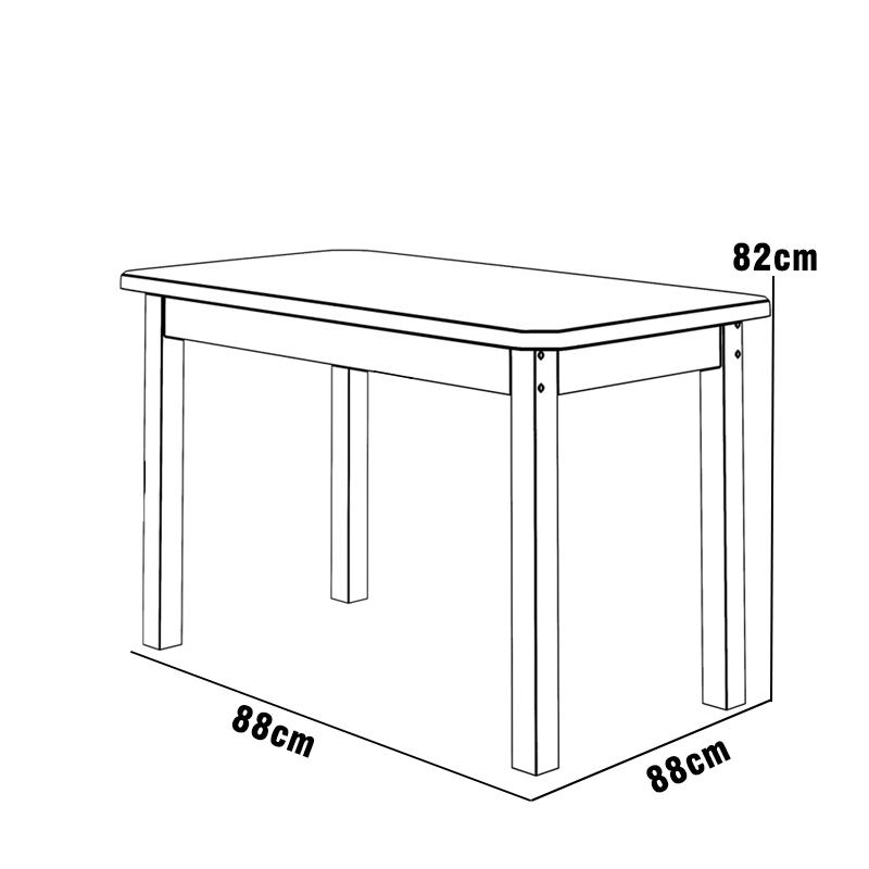 Mesa 88 x 88 com 4 Cadeiras Safira Cor Castanho