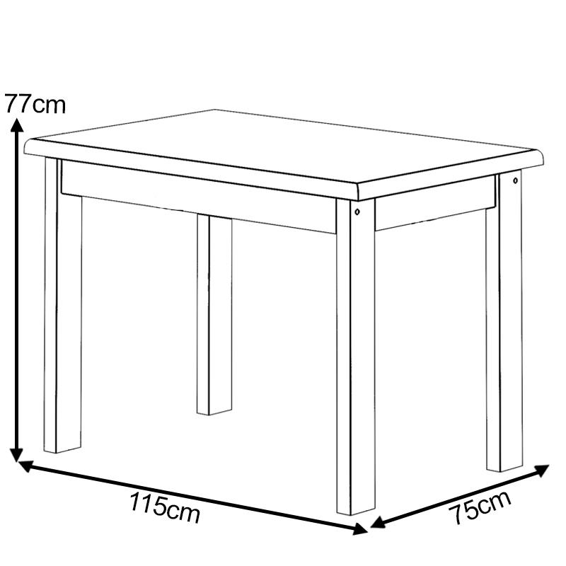 Mesa de Madeira  1,15x75 Com 4 Cadeiras Cor Imbuia Estofado Preto