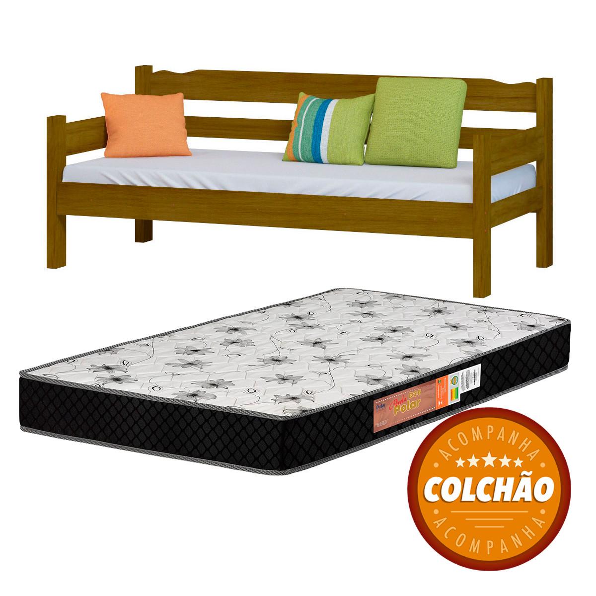 Sofa Cama Cor Imbuia + Colchao
