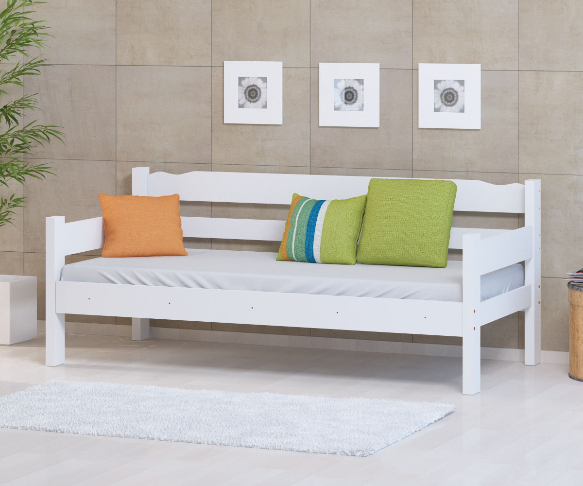 Sofa Cama de Madeira Maciça Cor Branco