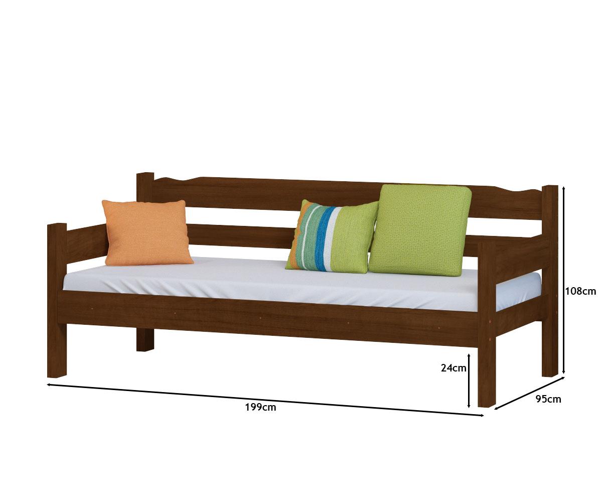 Sofa Cama de Madeira Maciça Cor Castanho