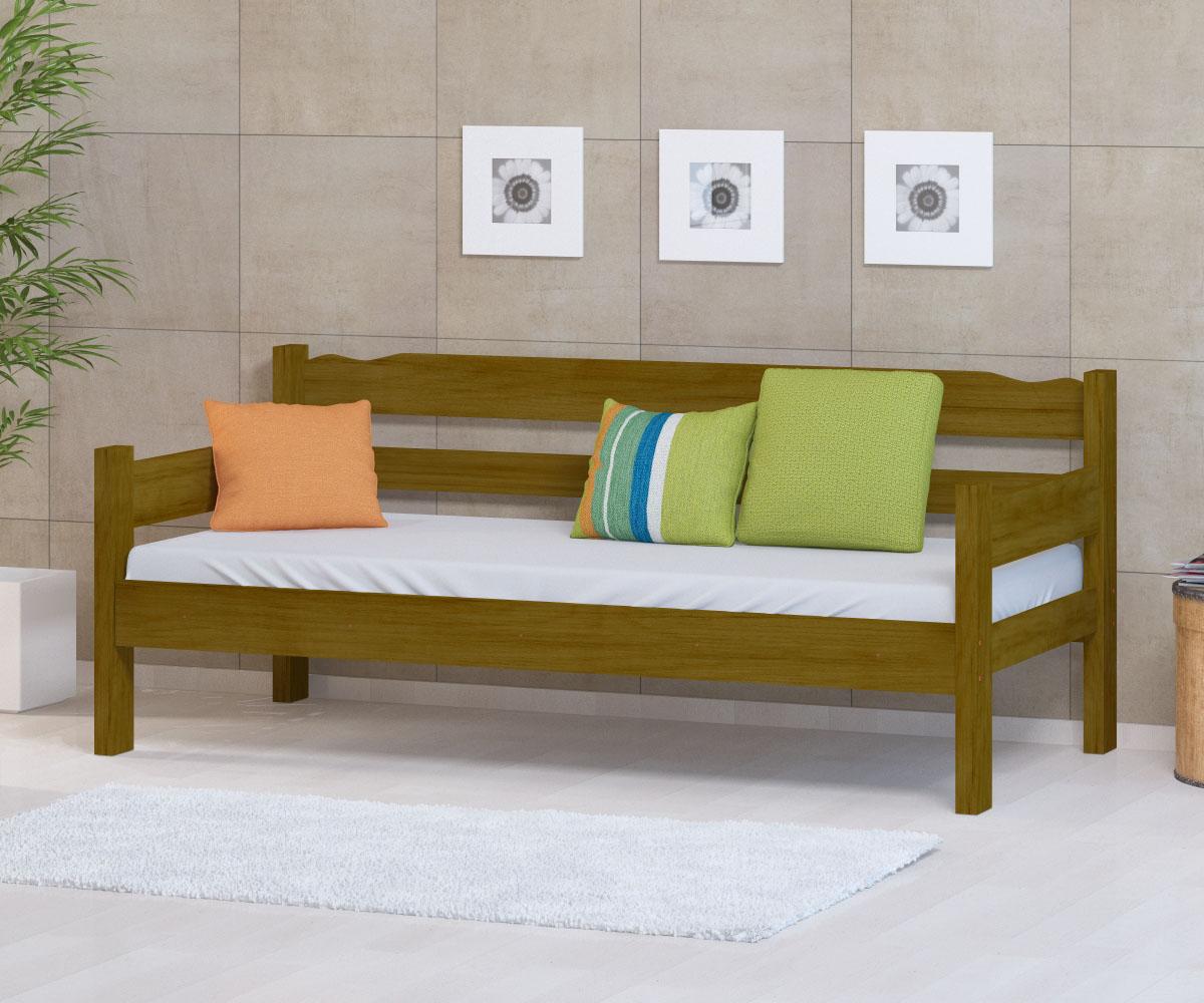 Sofa Cama de Madeira Maciça Cor Imbuia