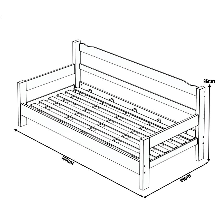Sofa Cama de Madeira Maciça Cor Preto