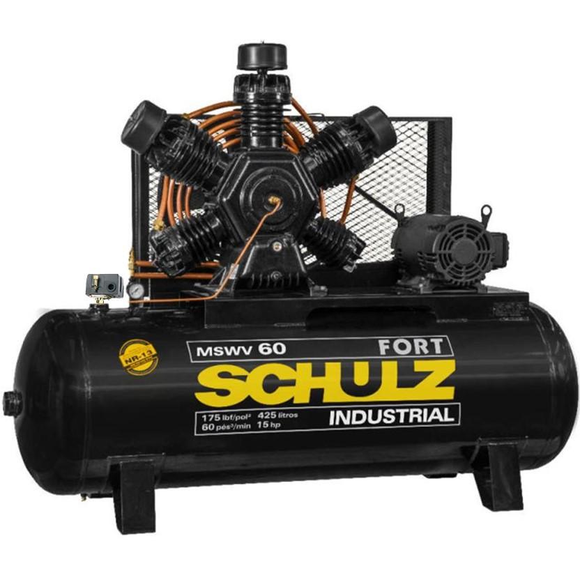 Compressor Schulz MSWV 60 Fort 425 Litros 175 Libras 15 cv Trifásico