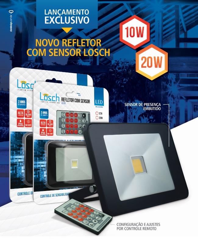 Refletor LED C/ SENSOR e CONTROLE REMOTO - Super preço!  - Giamar